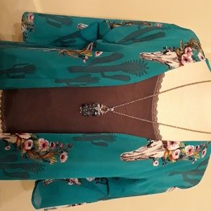 Lucky & Blessed Long Kamono Duster Sheer Turquoise
